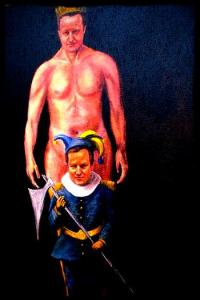 A naked, crowned David Cameron with Nick Clegg as his fool.